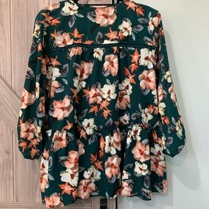 Floral Blouse with Cut Out Detail